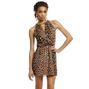 $315 Parker Chain Neckline Leopard Print Dress